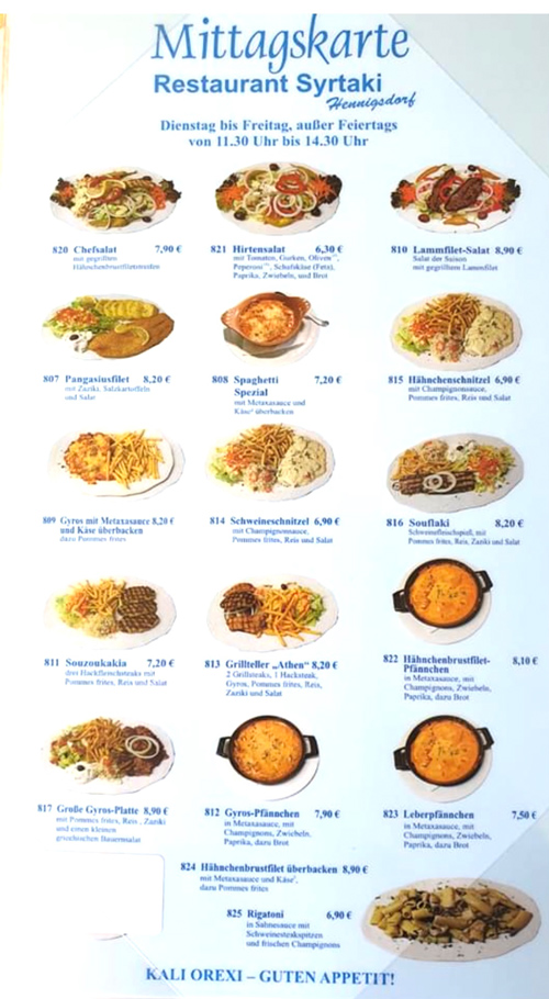 Mittagskarte Corona